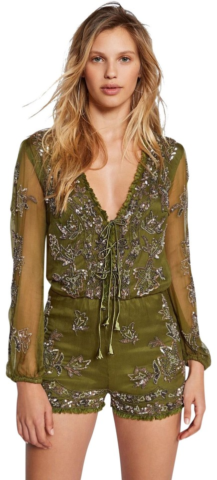 71bc15c66fa Free People Olive Green Embellished Mimi Romper Jumpsuit - Tradesy