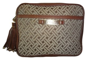 Cole Haan COLE HAAN ~ Roomy Brown Signature Jacquard COSMETIC CASE Leather Trim