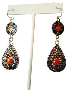 NWOT Enamel Multi-Color Dangle Earrings