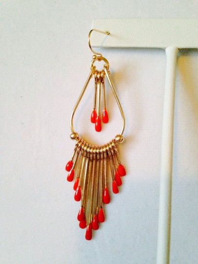 "Other NWOT Orange Enamel ""Matchstick"" Double Row Earrings"