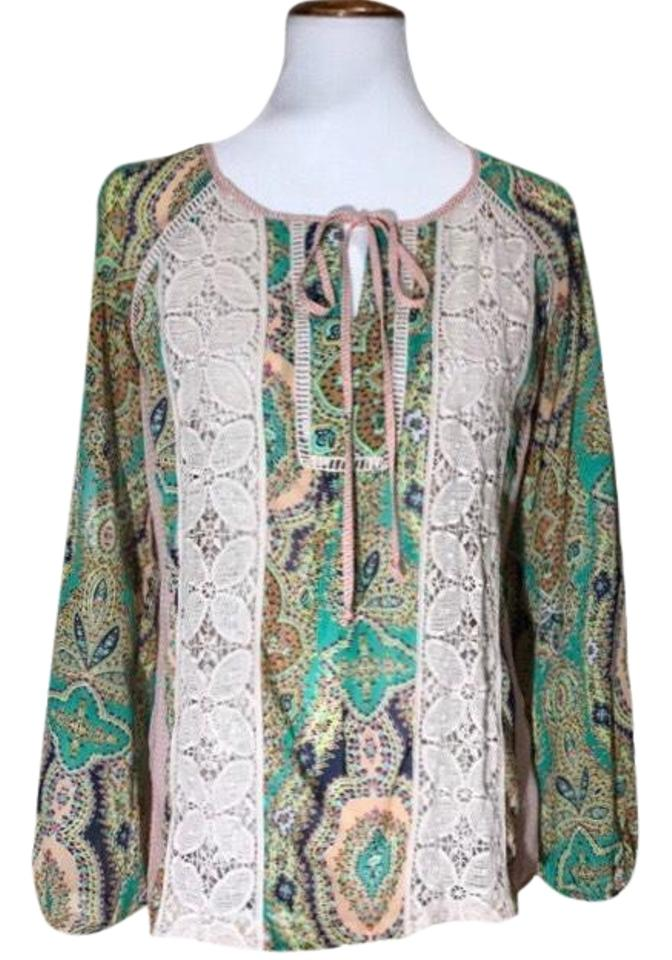Anthropologie Cream Peach Paisley And Crochet Blouse Size 6 S