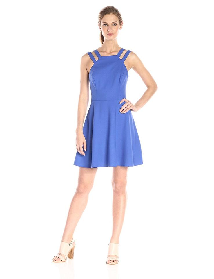 French Connection Blue Strappy Fit and Flare Short Cocktail Dress ...