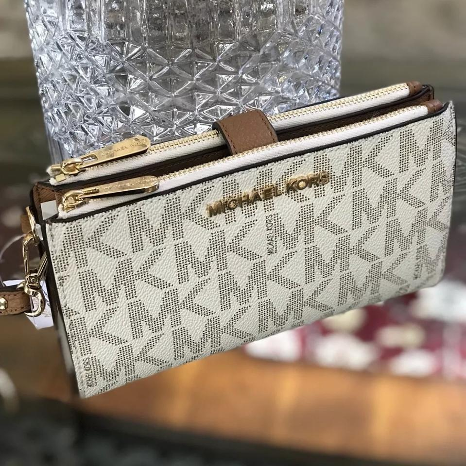 3aa62ad9dc6292 MICHAEL Michael Kors Jet Set Travel Mk Signature Double Zip Wallet Vanilla/  Acorn Trims Pvc/ Saffiano Leather Wristlet