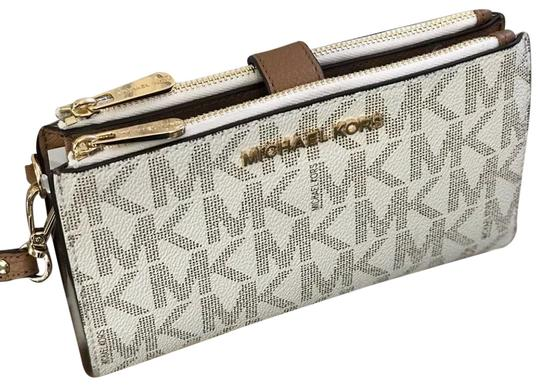 c0c98bbe7bb65b MICHAEL Michael Kors Double Wallet Signature Monogram Wristlet in vanilla/  acorn trims Image 0 ...