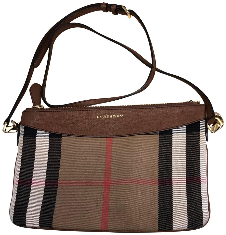 7ab390c75c1d Burberry Peyton House Check Tan Leather and Canvas Cross Body Bag ...