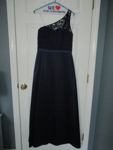 David's Bridal Marine Satin/ Lace F18058 Long Illusion And Formal Bridesmaid/Mob Dress Size 8 (M)