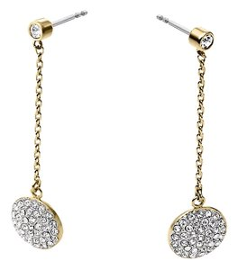 Michael Kors NWT Michael Kors Pave Disc Drop Gold Tone Earrings