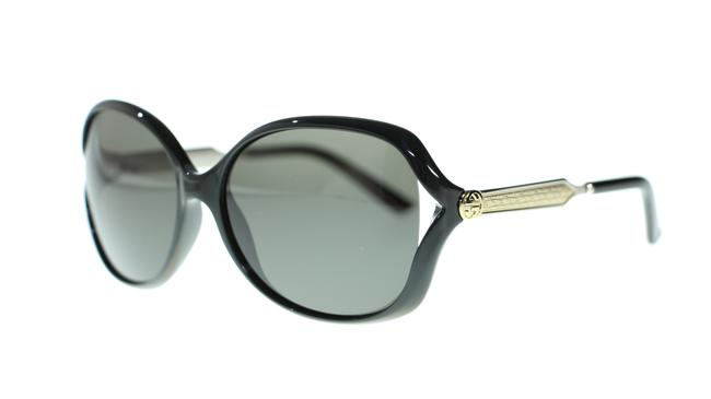 Gucci 001 Black Women Oval Gg0076s Silver with Grey Lens Sunglasses Image 1