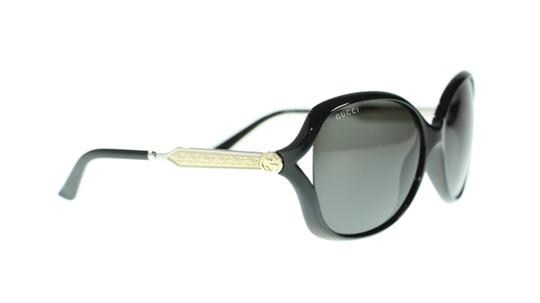 Gucci Gucci Women Oval Sunglasses GG0076S 001 Black Silver With Grey Lens