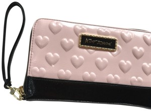 Betsey Johnson pink and black Clutch