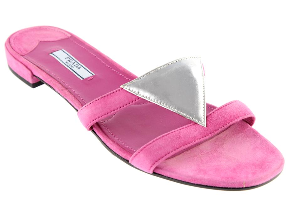 522a19b12fe5 Prada Pink Triangle Suede Slide Sandals Size EU 39.5 (Approx. US 9.5 ...