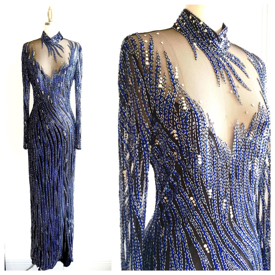 Bob Mackie Blue Vintage 1980\'s Rare Beaded Illusion Gown Long Formal ...