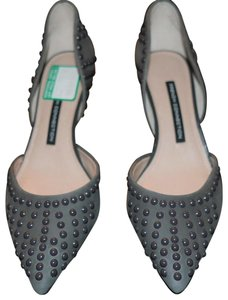 French Connection Studded Leather D-orsay Slim Heel Grey Pumps