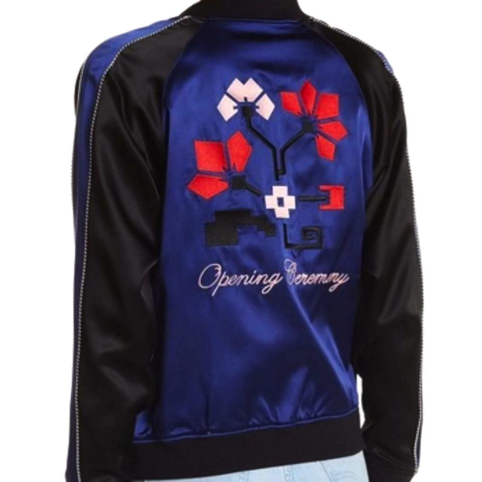 Multi Silk Jacket Reversible Spring Black Opening Blue Satin Bomber Ceremony TXwz1t