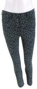ZAC Zac Posen Skinny Pants Blck/Green Animal Print