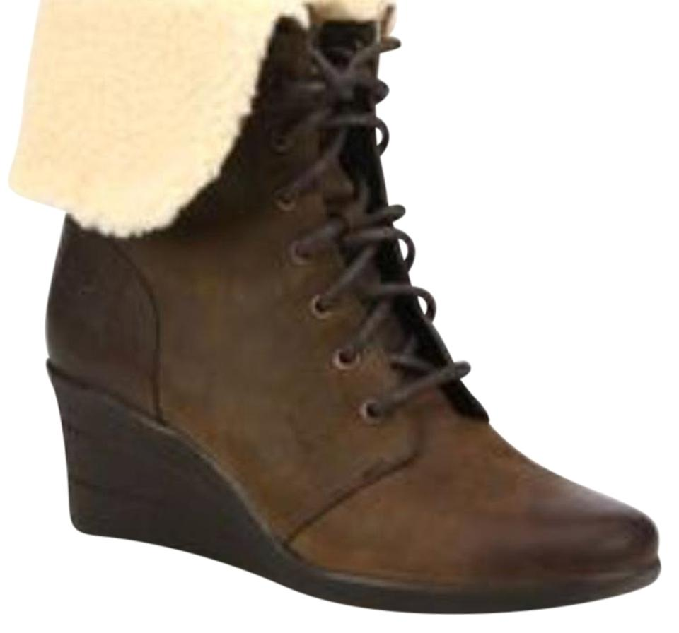 d9edc712b6c UGG Australia Brown Uptown Zea Leather Wedge Boots/Booties Size US 8  Regular (M, B) 45% off retail