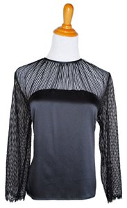 Ulla Johnson New York Sheer Silk Evening Date 10 M Button Chic Top Black