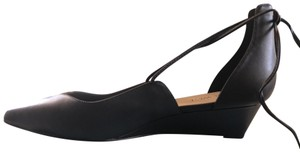 Nine West Flat Black Leather Wedges
