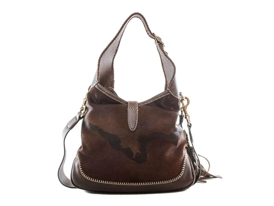4ac5d62cf7a Gucci Jackie New Pony Hair and Shoulder Hobo Brown Leather Tote ...