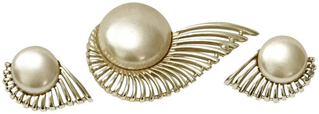 Item - Gold Ivory Brooch Pin Earrings Set Pearl Flight 1956 Collection