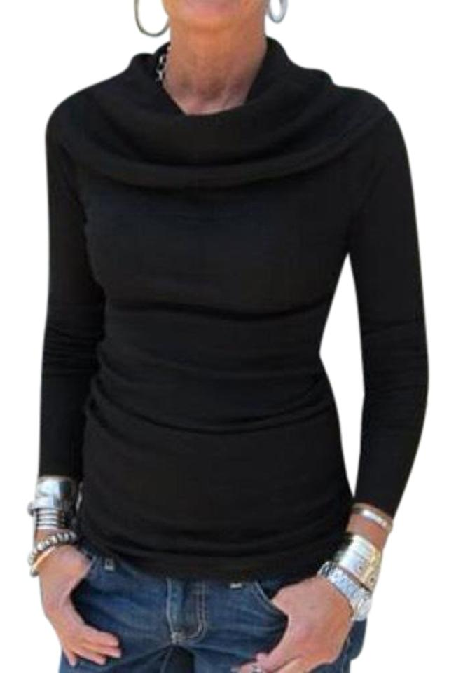 Michael Stars Shine Cowl Neck Long Sleeve Black Sweater - Tradesy 434442a61