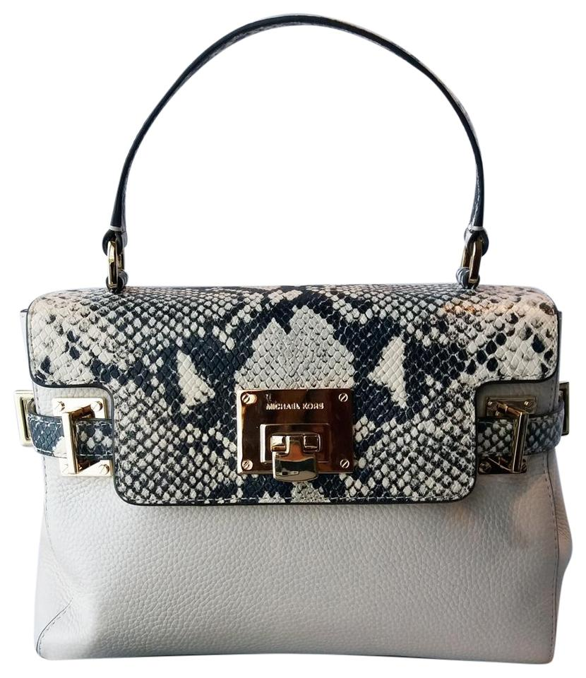 7c197a69844851 Michael Kors Small Leather Detachable Strap Top Handle Satchel in  Cream/Snake Embossed Image 0 ...