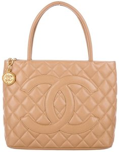 chanel Medallion Classic Flap Cc Logo Caviar Leather Gold Hardware Tote in Beige Camel Tan Nude