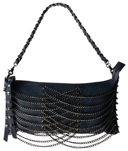 Expressions Chain Loops Gunmetal Hardware Chain Woven Strap Detachable Strap Metal Loops Shoulder Bag