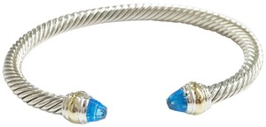 David Yurman BRAND NEW!! NEVER WORN!! David Yurman Blue Topaz 14 Karat Yellow Gold and Sterling Silver Cable Bracelet