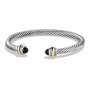 David Yurman BRAND NEW!! NEVER WORN!! David Yurman Black Onyx 14 Karat Yellow Gold and Sterling Silver Cable Bracelet