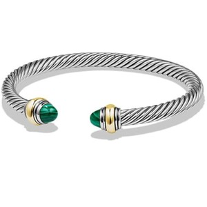 David Yurman BRAND NEW!! NEVER WORN!! David Yurman Malachite 14 Karat Yellow Gold and Sterling Silver Cable Bracelet