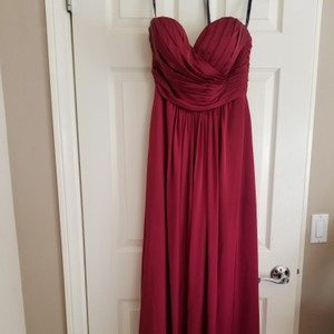 3dc420ba4f2 Bill Levkoff Red Satin Chiffon 790 Feminine Wedding Dress Size 12 (L)