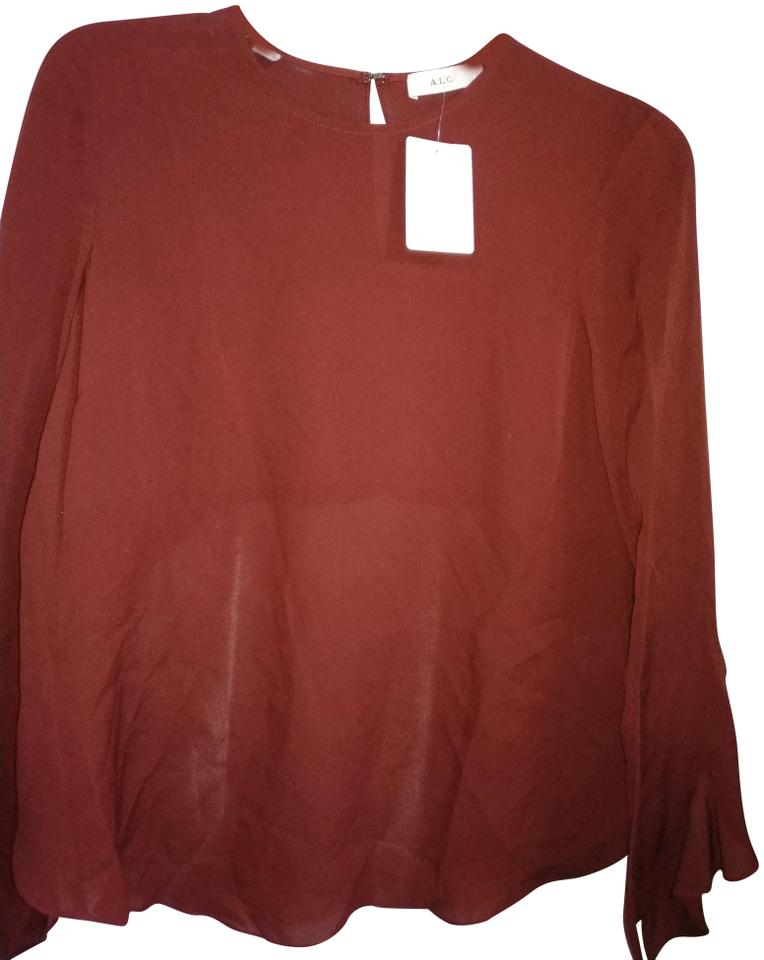 e80f3b836ec7 A.L.C. Burgundy Silk with Ruffles and Split Back Blouse Size 0 (XS ...