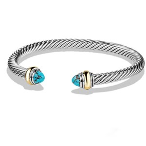 David Yurman BRAND NEW!! NEVER WORN!! David Yurman Turquoise 14 Karat Yellow Gold and Sterling Silver Cable Bracelet