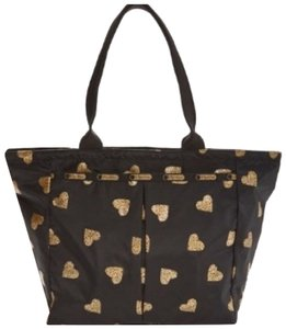 LeSportsac Tote in Black with dainty gold hearts