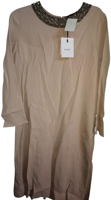 Item - Blush 46 Made In Italy Beaded Necklne Back Pleat Mid-length Night Out Dress Size 8 (M)