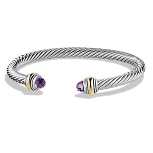 David Yurman BRAND NEW!! NEVER WORN!! David Yurman Amethyst 14 Karat Yellow Gold and Sterling Silver Cable Bracelet