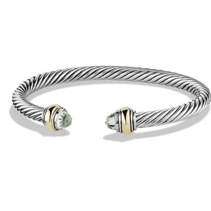 David Yurman BRAND NEW!! NEVER WORN!! David Yurman Prasiolite 14 Karat Yellow Gold and Sterling Silver Cable Bracelet
