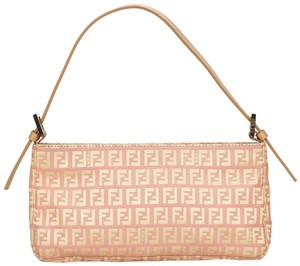 ce2f71b42d59 Fendi 7lfnhb002 Baguette. Fendi Zucchino Handbag Pink Fabric X Jacquard X  Leather X Others Baguette