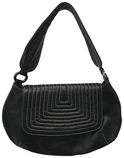 Item - Quilted Detail Black Leather Shoulder Bag