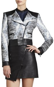 BCBGMAXAZRIA Moto Faux Leather Chic Jacquard Motorcycle Jacket