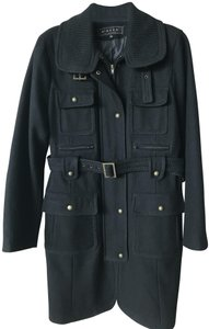 Giacca Zip Detailed Wool 80% Military Black Jacket