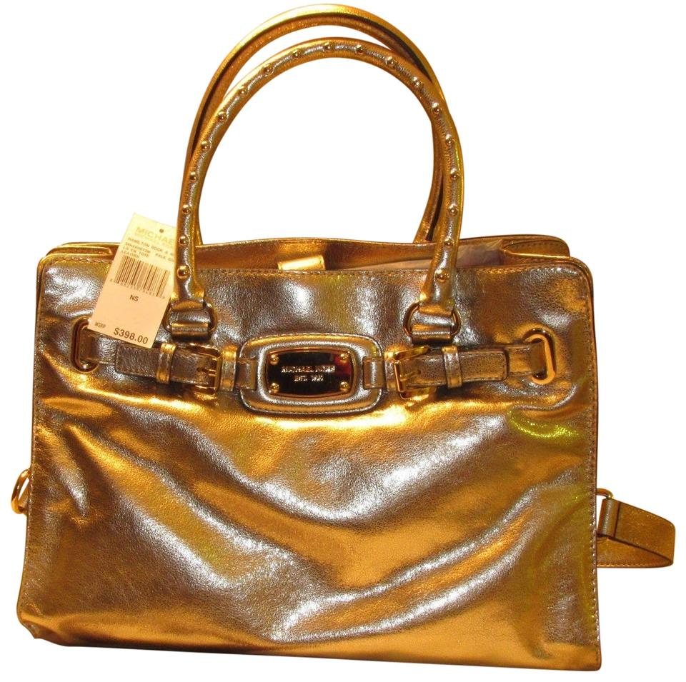 817a57481eab Michael Kors Hamilton Ew Large Rock and Roll Studded Tote Pale Gold Leather  Satchel