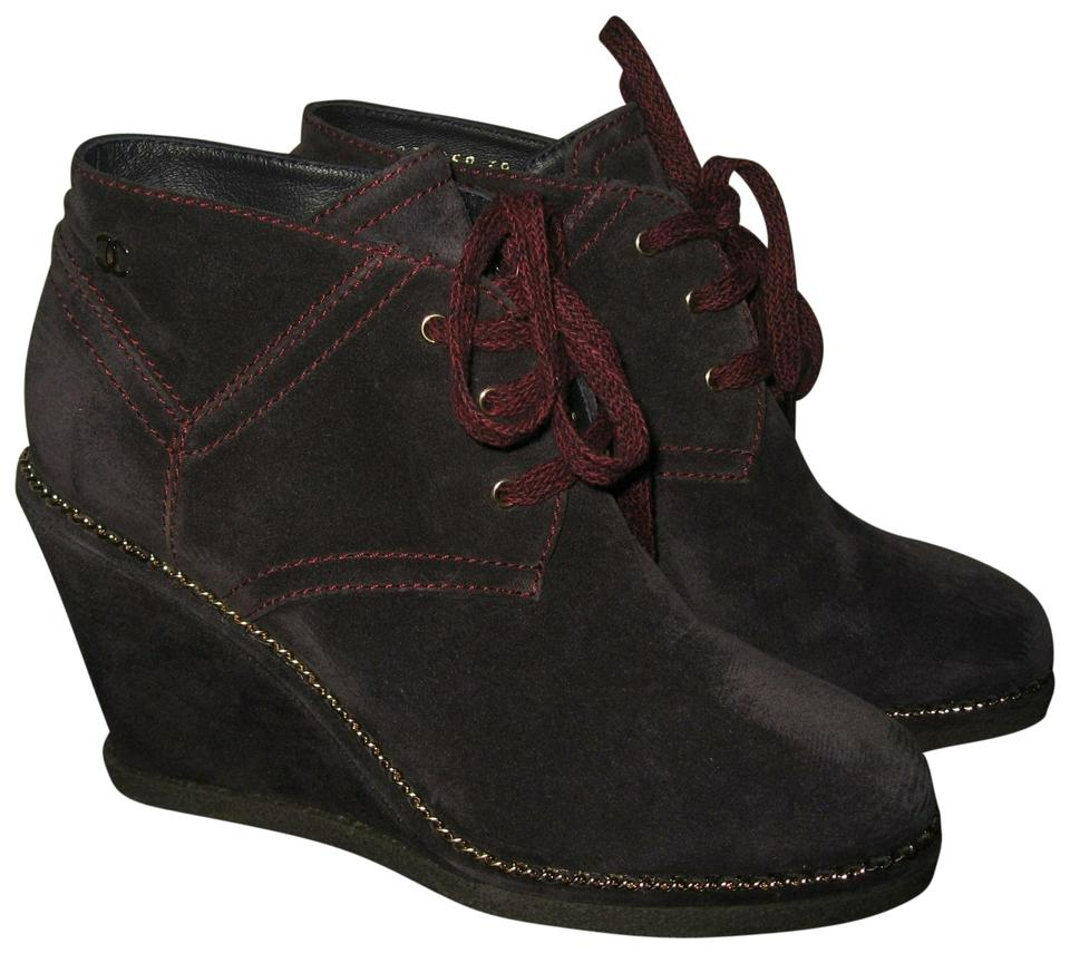 c6f306f6d30 Chanel Dark Blue Wedge Suede Chain Boots Booties Size EU 38 (Approx ...