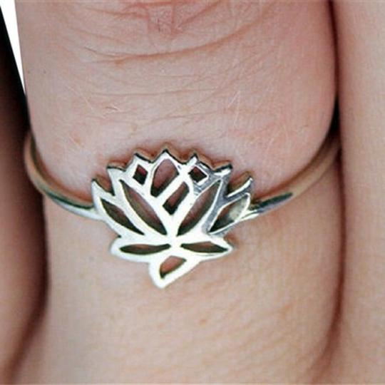 Other New Size 6, Tiny Silver Lotus Flower Ring Image 2