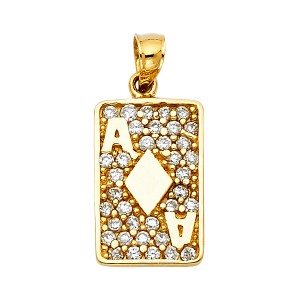 Top Gold & Diamond Jewelry Yellow Gold 14K CZ Diamond A Card Pendant