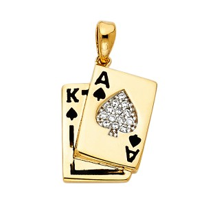 Top Gold & Diamond Jewelry Yellow Gold 14K CZ Spade A & K Card Pendant