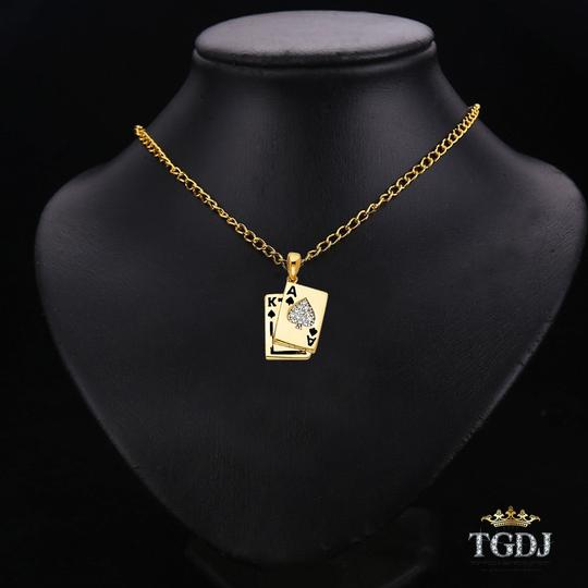 Top Gold & Diamond Jewelry Yellow Gold 14K CZ Spade A & K Card Pendant Image 2