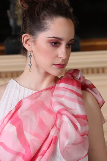 Valentino 4th Of July February Love Matching Set Of 3 Spring Ribbons Pink Ruby Red On White Couture Silk Satin Stole Shawl For Hautebride Bridesmaid Gala Luxury Gift Feminine Wedding Dress Size OS (one size) Image 1