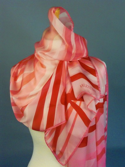 Valentino 4th Of July February Love Matching Set Of 3 Spring Ribbons Pink Ruby Red On White Couture Silk Satin Stole Shawl For Hautebride Bridesmaid Gala Luxury Gift Feminine Wedding Dress Size OS (one size) Image 3